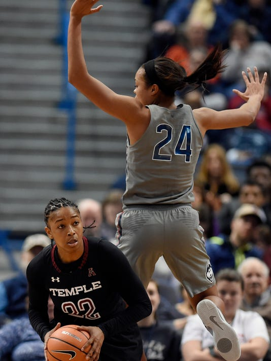 Connecticut's Napheesa Collier, right, pressures Temple's Tanaya Atkinson, left, during the second half an NCAA college basketball game, Sunday, Feb. 18, 2018, in Hartford, Conn. (AP Photo/Jessica Hill)