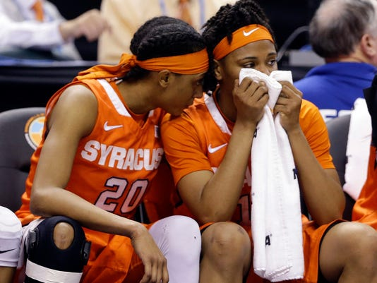 Syracuse's Brittney Sykes (20) and teammate Cornelia Fondren (11) sit on the bench during the second half of the championship game against Connecticut at the women's Final Four in the NCAA college basketball tournament Tuesday, April 5, 2016, in Indianapolis. Connecticut won 82-51. (AP Photo/Michael Conroy)
