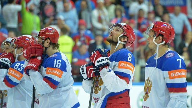Russia's Alexander Ovechkin (2nd R) reacts after the gold medal match Canada vs Russia at the 2015 IIHF Ice Hockey World Championships on May 17, 2015 at the O2 Arena in Prague.