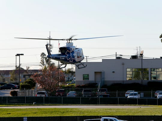 A Fort Hunter Liggett helicopter leaves Natividad Medical Center Trauma Unit after bringing in a patient from a rural area of Monterey County.