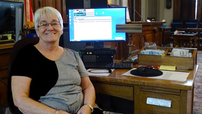 Brenda Rinehart sits in the Ross County Courthouse where she has worked since she was a junior at Chillicothe High School in 1973. Her final day of work will be Dec. 15, 2017.