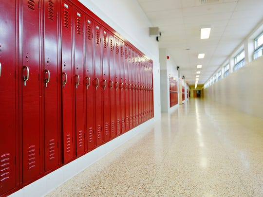 Lockers are shown at Dover Area High School in Dover