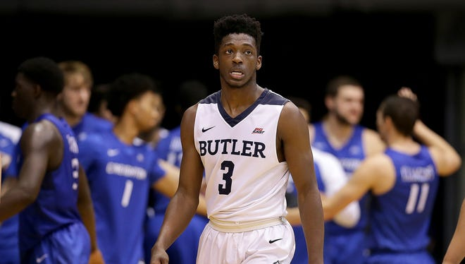 A dejected Kamar Baldwin (3) walks off the court as time expires in the second half of their game Tuesday, January 31, 2017, evening at Hinkle Fieldhouse. The Butler Bulldogs lost to the Creighton Bluejays 76-67.