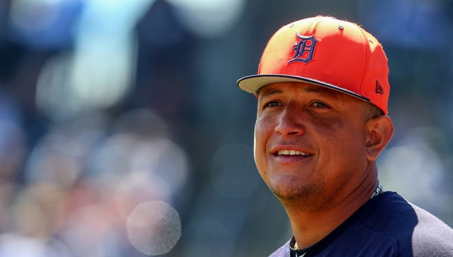 Miguel Cabrera stands on the field before the start of a spring training game Mach 13.