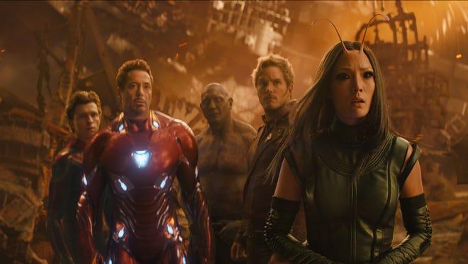 "Spider-Man/Peter Parker (Tom Holland), Iron Man/Tony Stark (Robert Downey Jr.), Drax (Dave Bautista), Star-Lord/Peter Quill (Chris Pratt) and Mantis (Pom Klementieff) in ""Avengers: Infinity War""."