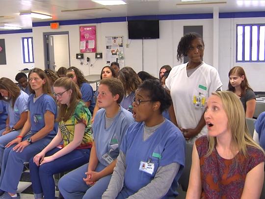 Screenshot from video of an MTC Glee Club rehearsal.