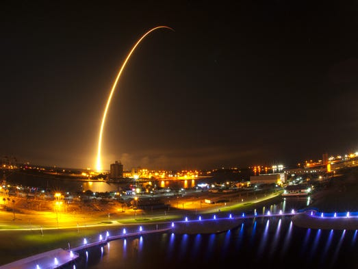 The view from Exploration Tower at Port Canaveral of the SpaceX  Falcon 9 launch to the International Space Station from Launch Complex 40 at Cape Canaveral Air Force Station at 1:52 a.m. Sunday morning. Two and a half minute time exposure of the launch.