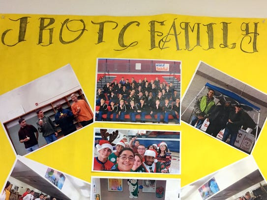Posters line the hallways leading to the JROTC classroom