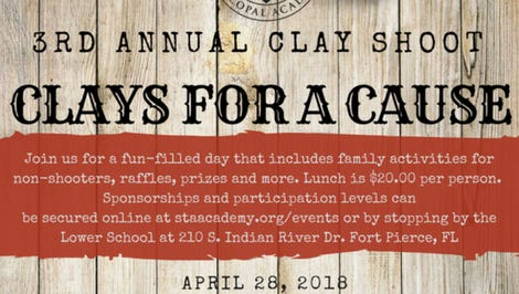 St. Andrew's Episcopal Academy's popular annual Clay Shoot will take place April 28 at Quail Creek Plantation in Okeechobee.