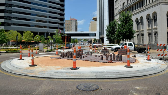 A roundabout, part of the Capitol Street improvements under way in downtown Jackson, is now operational at the intersection of Capitol Street and Lamar Street.