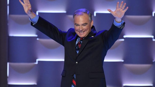 Democratic Nominee for Vice President Tim Kaine walks on stage during the 2016 Democratic National Convention.
