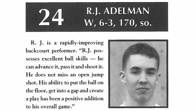 Photo of R.J. Adelman from 1992-93 Willamette University men's basketball roster.