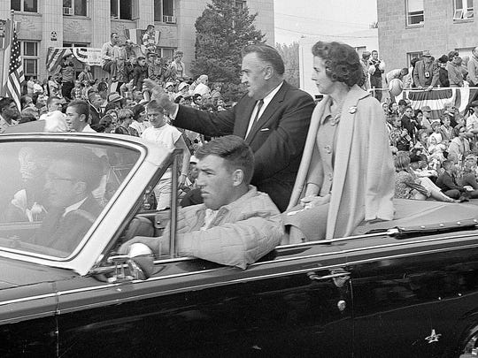 Nev. Congressman Walter S. Baring rides in the 1964