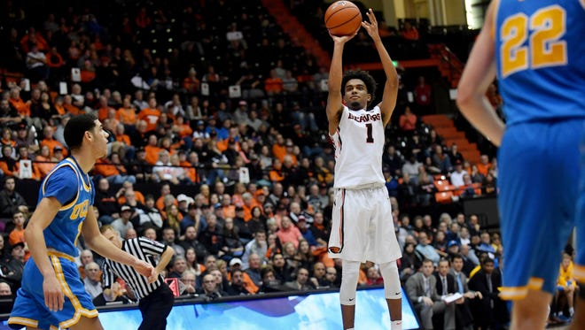 Dec 30, 2016; Corvallis, OR, USA; Oregon State Beavers guard Stephen Thompson Jr. (1) shoots a three point shot against UCLA to tie the score in the second half at Gill Coliseum. The Bruins defeated the Beavers 76-63.  Mandatory Credit: Scobel Wiggins-USA TODAY Sports