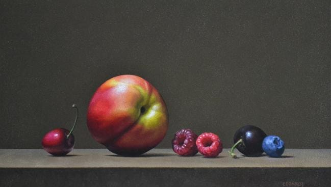 """""""Cherries, Raspberries, Blueberries, Apple,"""" oil painting by Patricia Coonrod, part of Exhibit I at Fine Line Designs Gallery. Coonrod gives a demonstration of her still-life painting techniques May 28 at the gallery."""