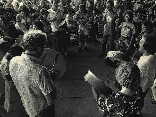 A few hundred people gather at the War Memorial Center in Milwaukee for the dawn of the Harmonic Convergence on Aug. 16, 1987. This photo was published in the Aug. 17, 1987, Milwaukee Journal.