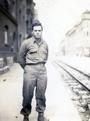 Bernard Beckerman, overseas, in uniform during World