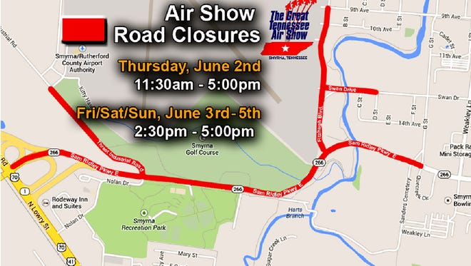 Road closures during the Great Tennessee Air Show.