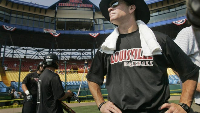 Louisville coach Dan McDonnell watches practice in Omaha, Neb., Thursday, June 14, 2007. Louisville plays Rice Friday  in the opening game of the College World Series. (AP Photo/Eric Francis)