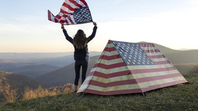 Field Candy shows their American flag themed tent design.