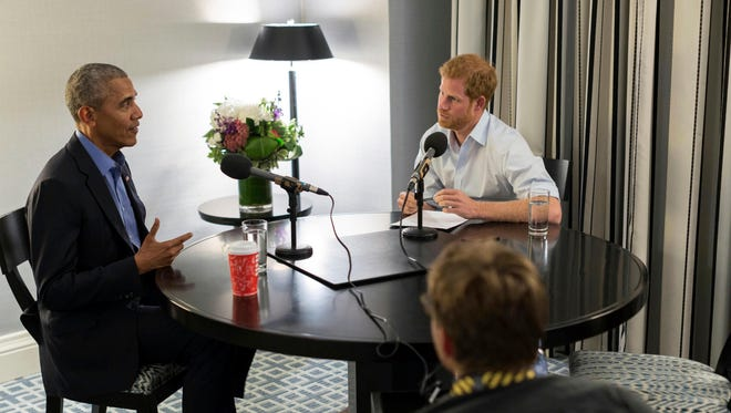 Britain's Prince Harry interviews Barack Obama in an interview to air Dec. 27.
