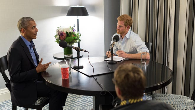 In this undated handout photo released by Kensington Palace, courtesy of the Obama Foundation, Prince Harry interviews former President Barack Obama as part of his guest editorship of BBC Radio 4's Today program.