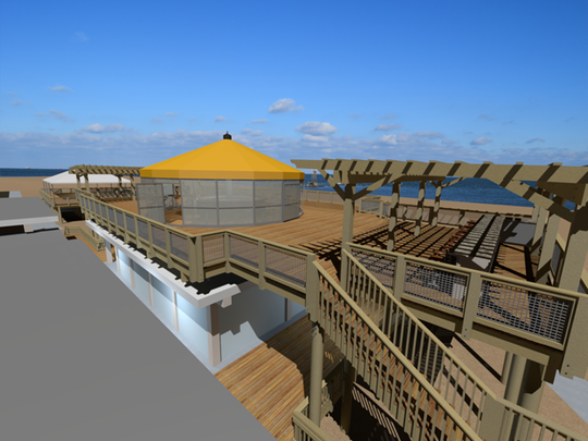 """An artist's rendering of the Big Chill Beach Club that is comprised of two upper decks, approximately 4,000 square feet each, offering family-friendly public dining with a """"European Umbrella"""" designed to protect guests from winds up to 110 mph."""