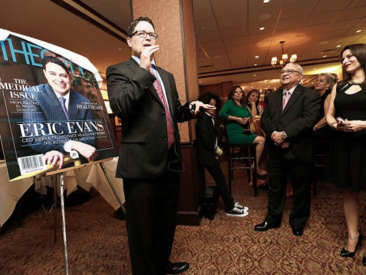 MARK LAMBIE—EL PASO TIMES  Sierra Providence CEO Eric Evans announced his resignation from the hospital at The City Magazine release party for an issue with him on the cover. Evans was promoted to CEO of Tenet Healthcare's Texas Region. Evans also announced that Sally Hurt-Deitch was promoted to the position.