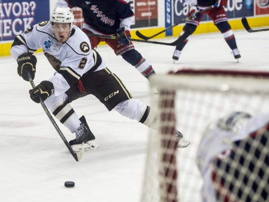 Nate Schmidt, of Hershey, skates to the net during Game 1 of the Eastern Conference semifinals between the Bears and the Hartford Wolf Pack. Schmidt signed a two-year, one-way deal with the Washington Capitals on Wednesday.