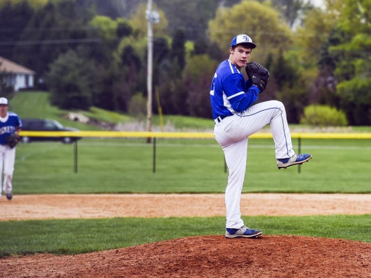 Spring Grove's John Sager pitches against Central York in the seventh inning on Friday. Sager retired 17-straight batters to end Friday's game and drove in the go-ahead run with an RBI single in the fourth inning.