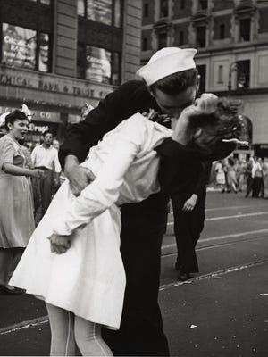 Several similar photos were taken on V-J Day in New York City, celebrating the surrender of Japan.