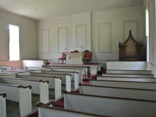 Interior of the Charlotte Meeting House, located at the Shelburne Museum