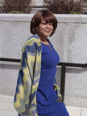 Former Spring Valley Mayor Noramie Jasmin arrives Monday at the White Plains United States Courthouse for the opening of her trial on wire and extortion charges.