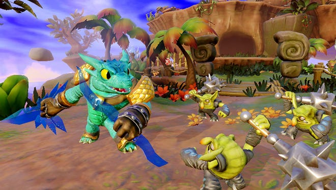 A scene from 'Skylanders: Trap Team' for tablets.