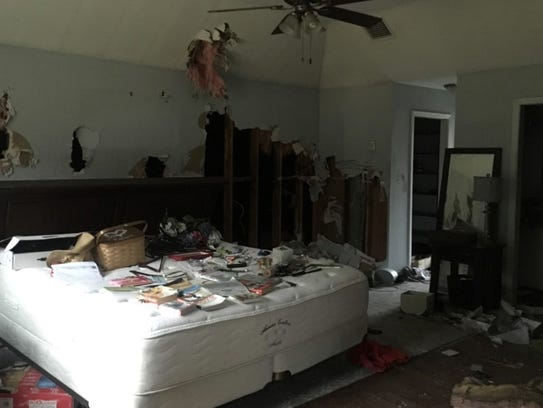 The master bedroom after a devastating Christmas fire.