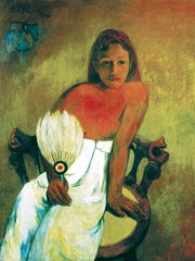 'Girl with a Fan' by Paul Gauguin, the inspiration