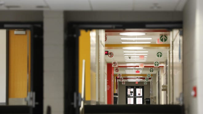 Empty hallways at Clarke Central High School, which will host a public information session tonight on the Clarke County School District's plans to return to in-person classes.