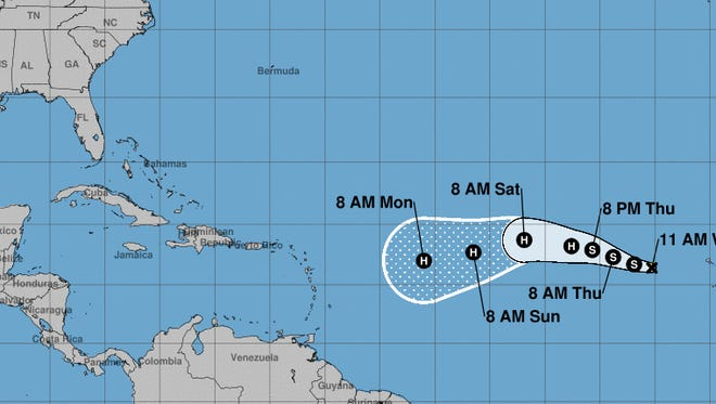 Tropical Storm Irma is forecast to move west across the Atlantic Ocean the next several days.
