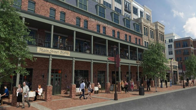 The revised plan for the redevelopment of Flemington's Main Street includes a new Union Hotel that will resemble the downtown landmark.