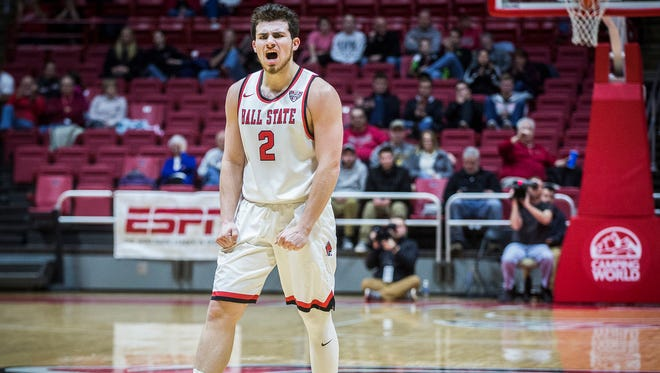 Ball State's Tayler Persons celebrates at the end of the first half during their game at Worthen Arena Tuesday, Jan. 10, 2016.