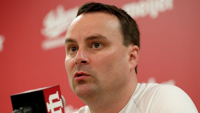 Indiana University men's basketball coach Archie Miller responds to questions during a press conference at Assembly Hall Tuesday, July 11, 2017, in Bloomington.