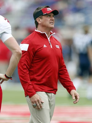 UL coach Mark Hudspeth, shown here coaching against Ole Miss in 2014, will be in Oxford on Saturday seeking his first win against a Power 5 program as head coach of the Ragin' Cajuns.