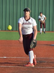 Brownwood's Chyanne Ellett delivers a third-inning pitch in Game 1 of a Class 4A area round series with Stephenville on Friday in Brock.