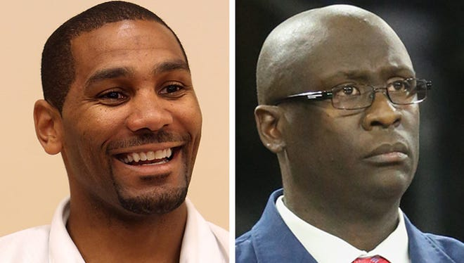 Coaches LaVall Jordan, left, and Bacari Alexander will face off Friday, Jan. 27 at Detroit Mercy.