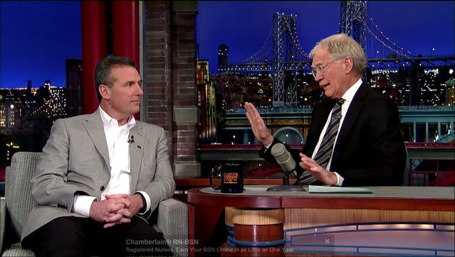 """Urban Meyer appears on """"Late Night with David Letterman,"""" which airs tonight."""