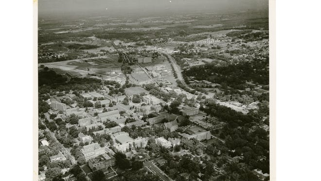 This aerial photo looking west at the FSU campus in 1958 shows the Lincoln Academy, which was the forerunner of Lincoln High School.