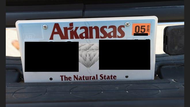 A photo of an Arkansas license plate.