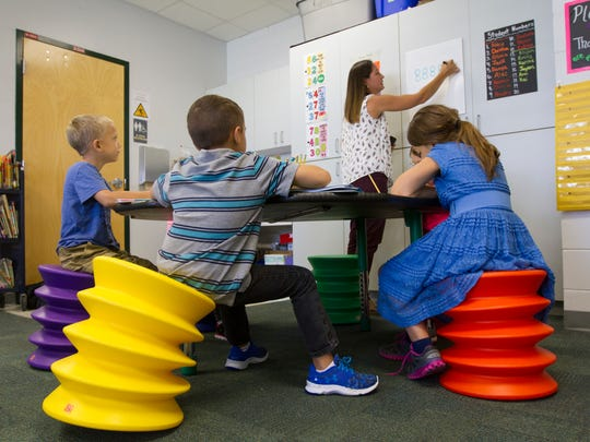Students in  Jennifer Jendrusiak's 2nd grade class use accordion stools as part of their seating arrangement while studying  Wednesday morning (8/17/16 ) at Gulf Elementary School in Cape Coral. The classroom is one of a handful that uses alternative seating options and flexible activities in order to encourage the students' decision making process.