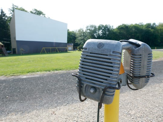 Speakers in front of the original screen at the Silver Lake Twin Drive-In in Perry.