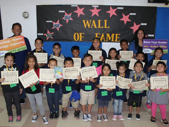 In support of the Positive Behavior Interventions and Supports program, Sylvan donated over 1,000 books to Guam's public elementary schools to promote literacy during January and February 2017. In recognition of their academic and behavioral achievements, Sylvans Center Director, Crystal Nelson, donated 19 books to Harry S Truman students of the month in Headstart - 5th and GATE, a prize package to the classroom with the best attendance, 15 prizes to the birthday celebrants of the month, and two prize packages for the staff and teacher raffle, January 10. Pictured, from left: Mr. Cruz (Harry S Truman Counselor), Crystal Nelson (Sylvan Learning Center Director).